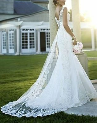 Elegant Lace New white/ivory wedding dress Bridal Gown Pageant Custom Size 6-18+