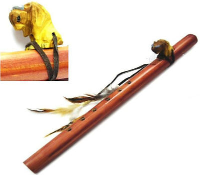 CARVED WOODEN BUFFALO ON LG WOOD FLUTE wild animal music wooden new