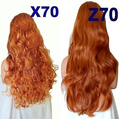 PAPRIKA Long Curly Layered Half Wig Hair Piece Ladies 3/4 Wig Fall Clip in