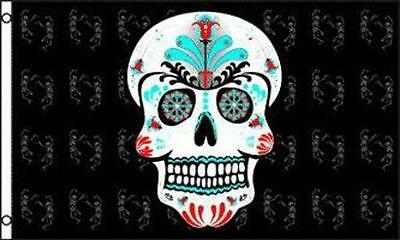 SUGAR SKULL 3X5 FLAG FL548 painted skeleton day of the dead mexico death skulls