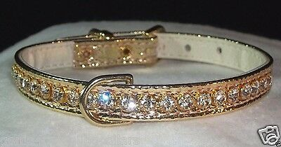 Designer Rhinestone Dog Collar Gold Beverly Clear Crystal Jewels Bling! dee-ring