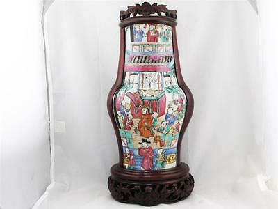 Antique Chinese Vase Shard Framed By Rosewood & Converted Into An Art Display