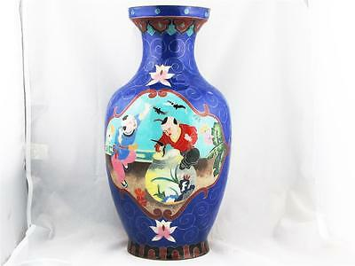 Beautiful Rare Large Vintage Chinese Cloisonne On Ceramic Blue Vase, Silver Wire
