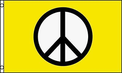 YELLOW PEACE SIGNS 3X5 FLAG FL603 peace hippie decor wall banner tapestry love