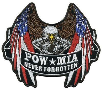 4183c1b5df3f USA POW MIA EAGLE EMBROIDERED PATCH P5530 iron on sew biker JACKET patches  NEW