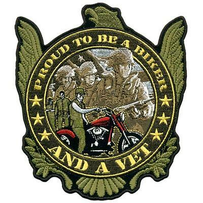 ac75c396c44a PROUD BIKER VET EMBROIDERED PATCH P5500 iron on sew biker JACKET patches NEW
