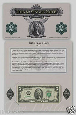 2015 $2 Federal Reserve Banks Note - Dallas - FREE Delivery in USA