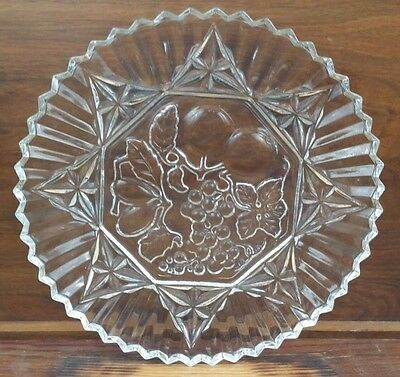 "Vintage Large Heavy Duty Glass Round Serving Platter Dish 11.5"" Fruit Pattern"