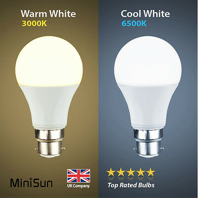 MiniSun 6W 10W LED (60W/100W) BC B22 GLS Lamp Light Bulbs Warm or Cool Day White