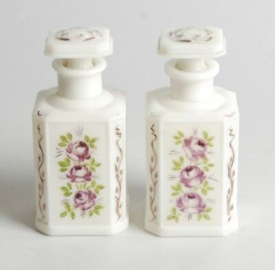 Antique Pair Of Hand-Painted Milk Glass Bottles With Raised Detail