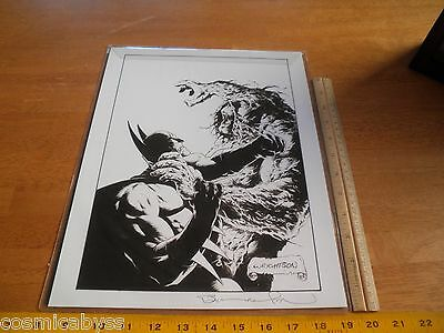 Batman vs Swamp Thing signed Berni Wrightson print 11x14""