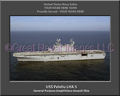 USS Peleliu LHA 5 Personalized Canvas Ship Photo 2 Print Navy Veteran Gift