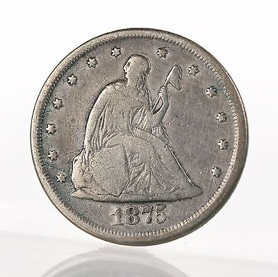 Raw 1875-CC Seated Liberty 20C Twenty Cent Piece Circulated Carson City Silver