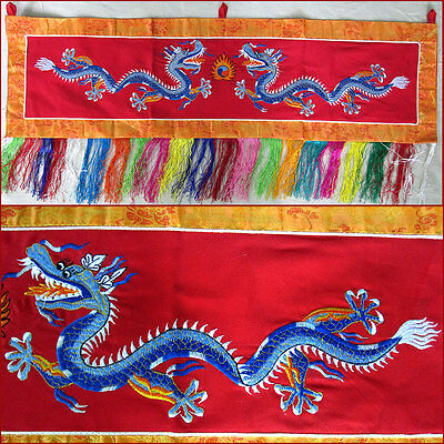 Embroidered Horizontal Tibet Blue Dragons Banner On Red Background Nepal
