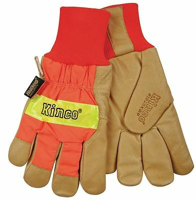 Kinco 1938KWP Mens Hi-Vis Work Gloves Lined Waterproof Leather Thermal Safety