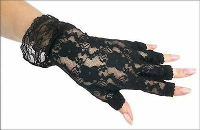 80's Black Fingerless Lace Glovettes Gloves Womens Adult Costume Accessory NEW