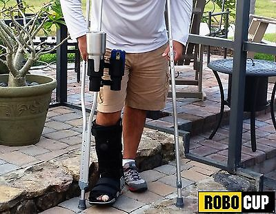 ROBOCUP Clamp On Caddy Dual Drink Cup Holder Mobility Knee Scooter Crutch Cane