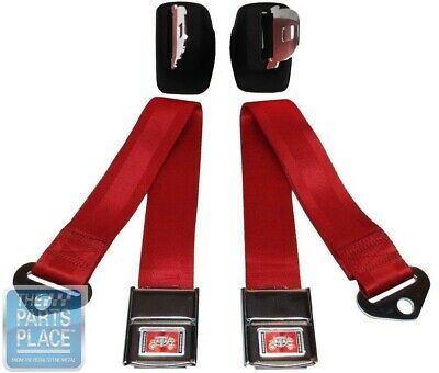 1964-65 GM A / B / X Body Front Deluxe Seat Belt Retractor Set - Red