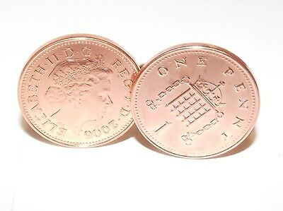 """7th """"Copper wedding"""" anniversary cufflinks - """"Copper"""" 1p coins from 2010"""