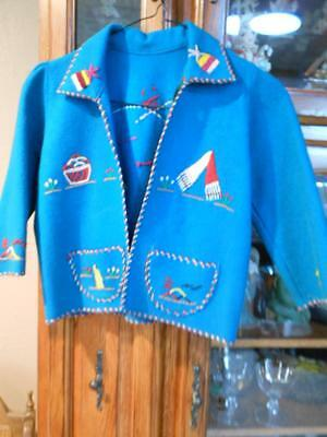 Child's Teal Hand Embroidery Jacket-tss