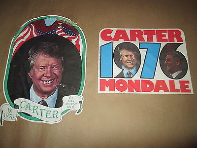 2 Vintage Jimmy Carter 1976 Presidential Campaign Shirt DECALS Unused Political