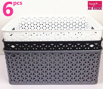 6x Rectangle Storage Basket Wicker Pattern w Carry Holes BK0170