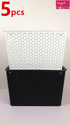 5 x Rectangle Multi Purpose Basket Wicker Pattern With Lid Random Color BK0283