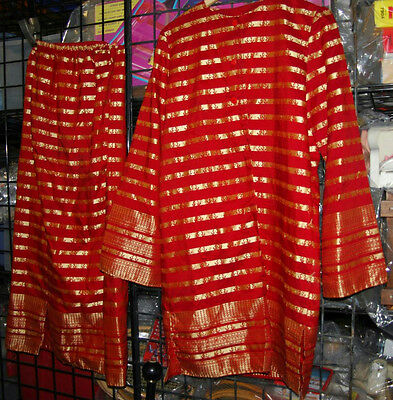 Womens Red & Gold Bollywood Indian Sari Skirt And Top Halloween Costume
