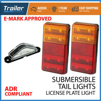 Pair Trailer Light Tail Stop + Number Plate Led Submersible Boat Caravan 12V