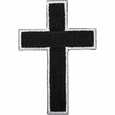 Black Cross Embroidered Iron / Sew On Patch T Shirt Bag Motorbike Jacket Badge
