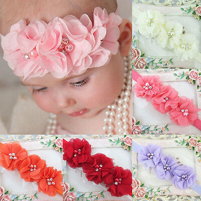 Beauty Colorful Chiffon Flower Headband Soft Elastic Hairband For Baby Girl