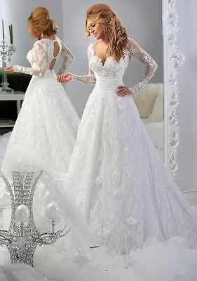 New Long Sleeve White/Ivory Lace Wedding Dress Bridal Gown Size 6 8 10 12 14 16+