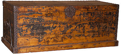"65"" L antique Chinese trunk box chest black old elm wood spectacular very rare"