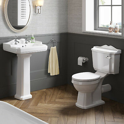 Traditional Basin and Toilet Bathroom Suite Set WC 2 Tap Hole Sink Cistern Pan