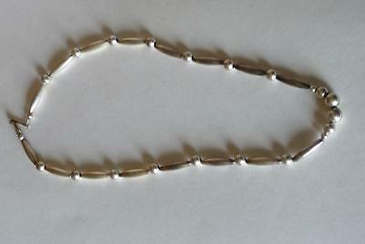 Very Old Sterling, Indian Navaho or Zuni Chain Necklace, Hollow Beads