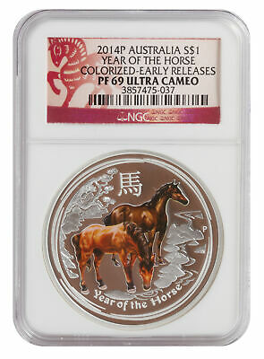 2014 NGC PF69 1oz Australian Silver Proof Colored Horse - ER Red Label
