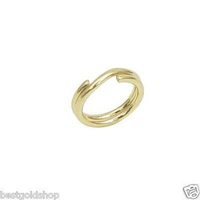 """6mm=1/4"""" Round Split Key Ring Clasp Genuine Real 14K Yellow Gold Jewelry Making"""