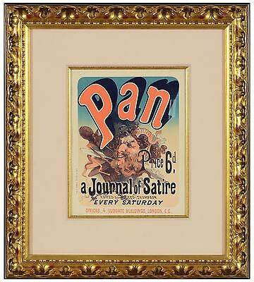 """Jules Cheret - """"Pan"""" (Plate 81 ), antique stone lithograph, Framed"""