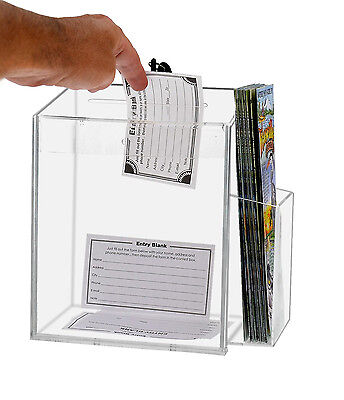 Lot of 4 Clear Acrylic Counter Top Locking Ballot Box with Brochure Pocket