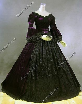 Victorian Premium Velvet Princess Prom Dress Gown Theater Period Clothing 153