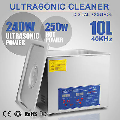 Digital Ultrasonic Cleaner Stainless Steel Heater Timer Industrial Grade 10L New