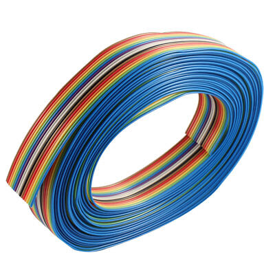 7M 16 Pin Rainbow Color Flat Ribbon Cable IDC Wire 1.27mm Pitch DIY