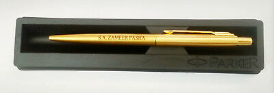 Personalised Engraved Parker Classic Gold Trim GT Ball Point Pen Blue Ink New