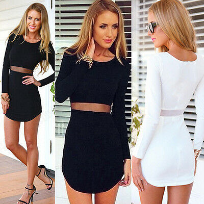 Sexy Women Bodycon Bandage Long sleeve Evening Cocktail Party Short Mini Dresses