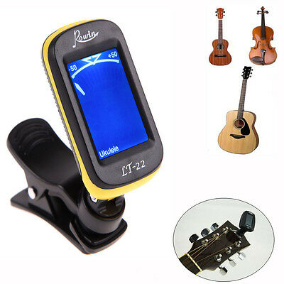 Clip On LCD Digital Chromatic Electronic Guitar Tuner Bass Violin Ukulele Yellow