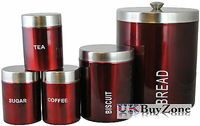 StainlessSteel Bread Biscuits Tea Coffee Sugar Kitchen Storage Box Container Red