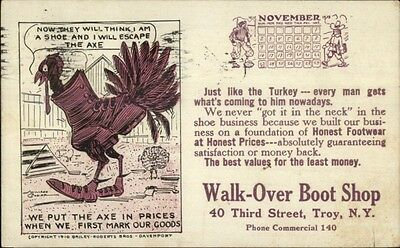 Walk-Over Boot Shop - Troy NY - Chicken in Boot c1910 Postcard