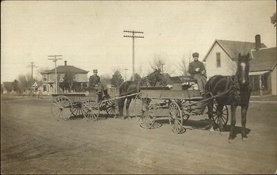 Men & Horse Drawn Delivery Wagons c1910 Real Photo Postcard