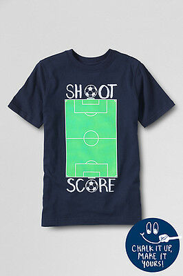 Lands End Boys' Short Sleeve Graphic Tee Classic Navy Score New