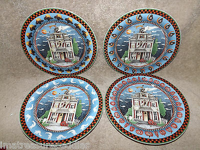 "Debbie Mumm HAUNTED HOUSE 12 Salad Dessert Plates SAKURA 8 1/4"" Halloween"